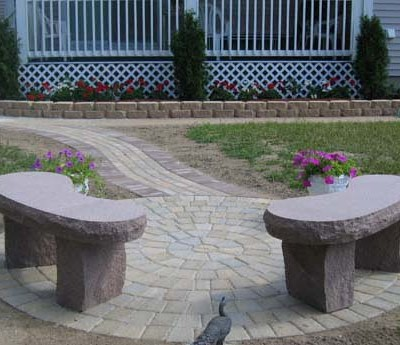Pink kidney benches